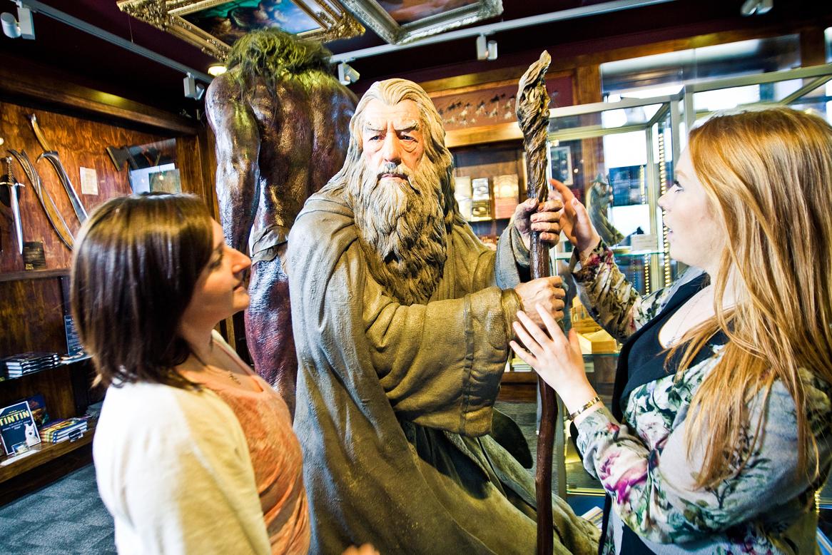 Two women looking at Gandalf model in Weta Workshop