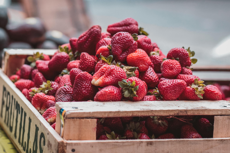 Strawberries, market