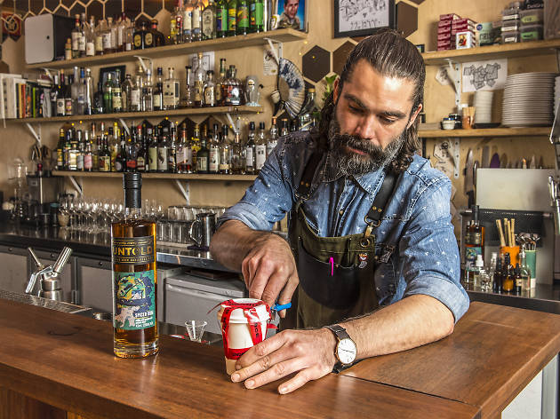 Portrait shot of Alen Nikolovski at Shady Pines Saloon