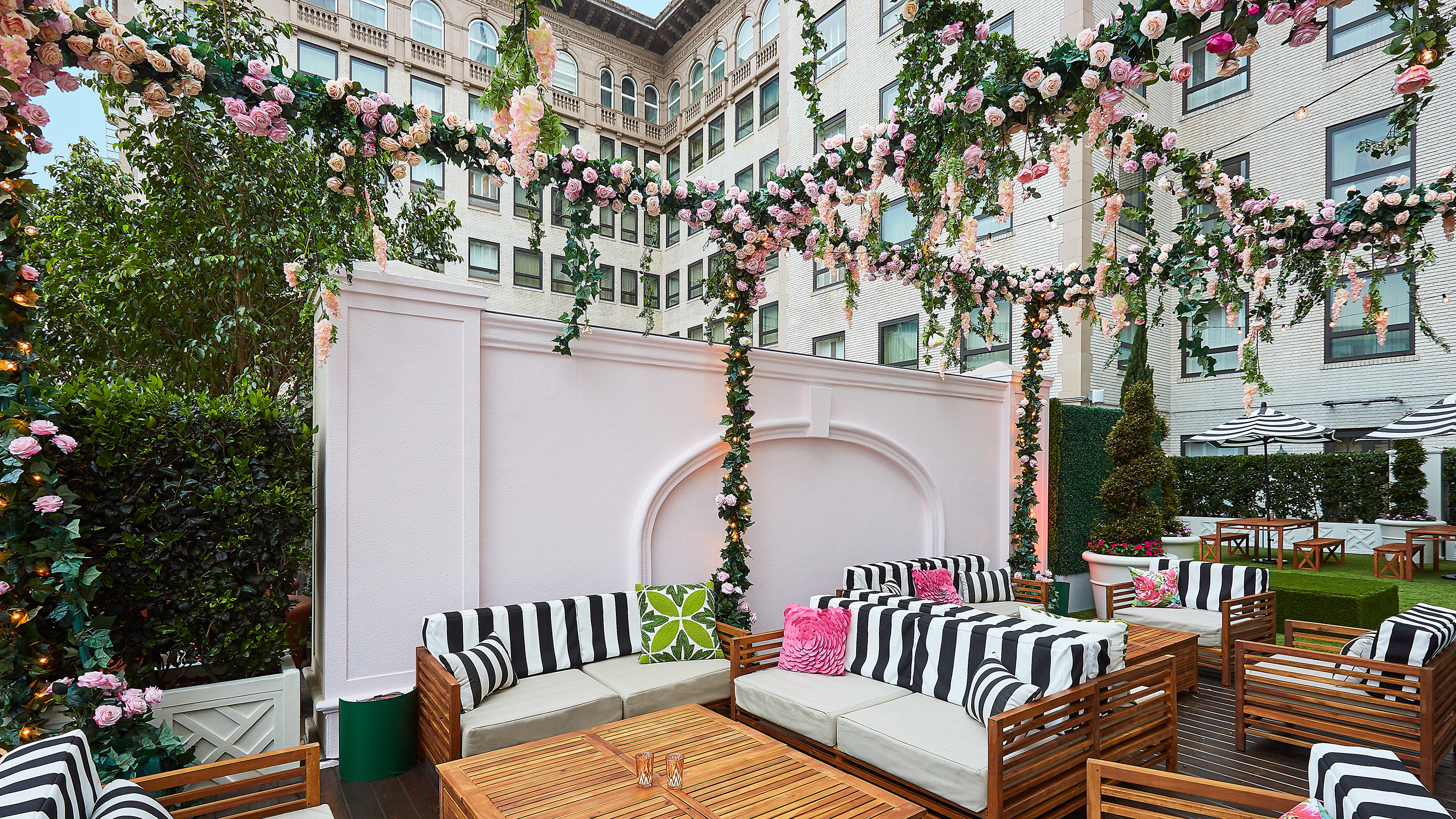 The Secret Rosé Garden rooftop pop-up at the Beverly Wilshire