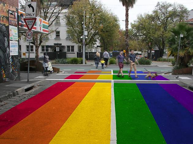 A St Kilda road is turning into a giant rainbow