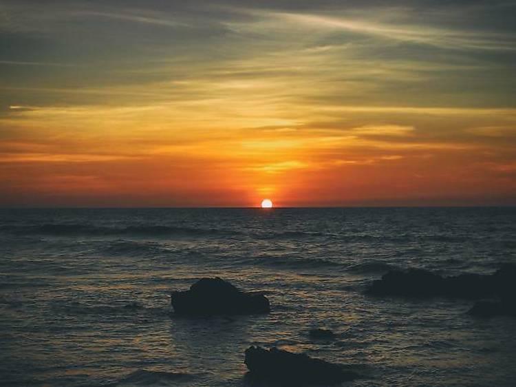 Sea kayak at sunset