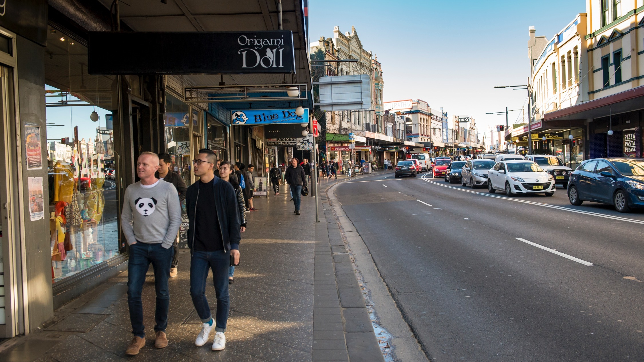 People walking at Newtown