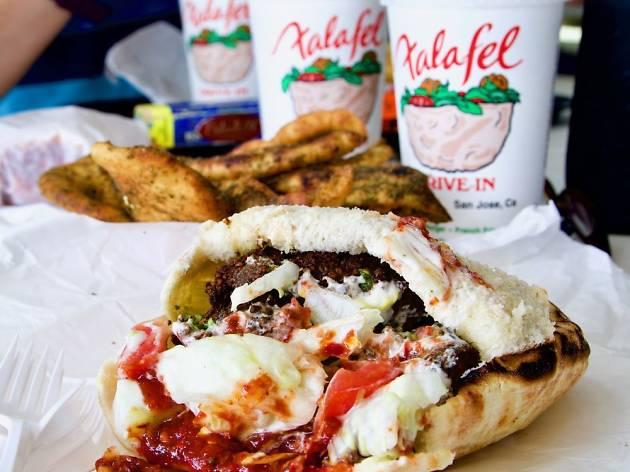 Large falafel sandwich at Falafel's Drive-In