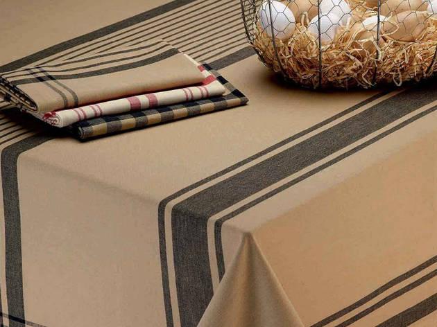 Beige Butcher Block Plaid Tablecloth