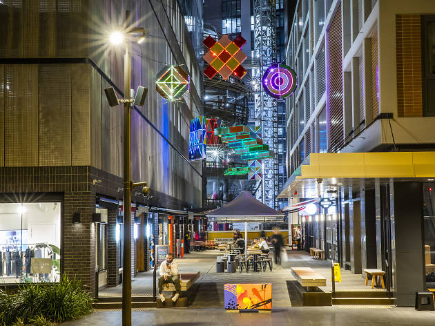 A wide shot of Darling Square's new laneway.