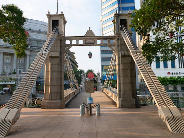 Cross the oldest bridge in Singapore