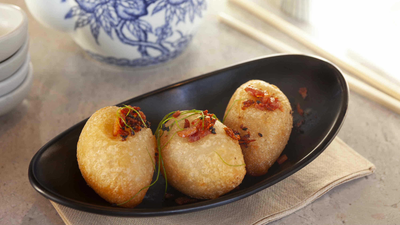 Pork, dried shrimp football dumplings at Oriental Tea House