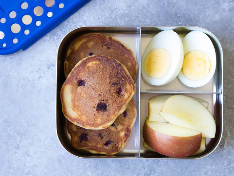 Hard-boiled eggs and pancakes