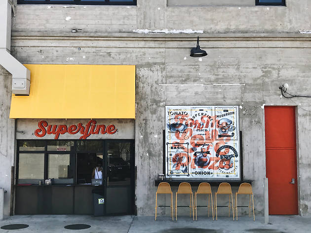 Steve Samson's Superfine pizza window and slice shop in Downtown Los Angeles
