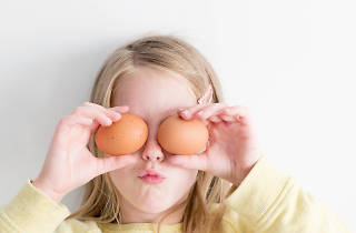Kid with egg