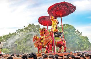The idol of lord Murugan taken on a Vahana