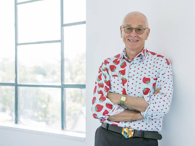 Dr Karl wears a strawberry shirt.