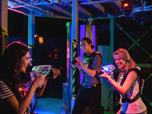 People playing laser tag.