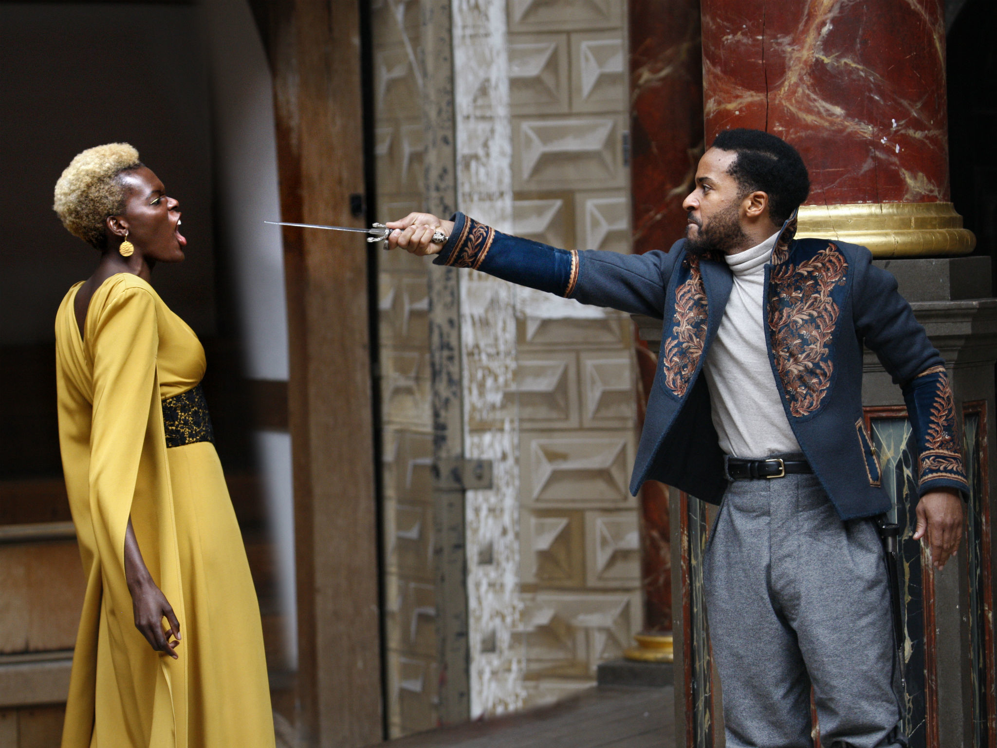 <p>Sheila Atim (Emilia) and André Holland (Othello)</p>