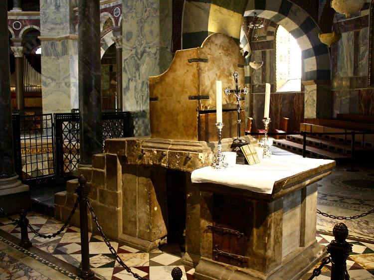 Admire Charlemagne's throne at Aachen Cathedral