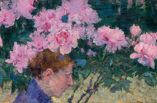 (John Russell 'Peonies and head of a woman' c1887)