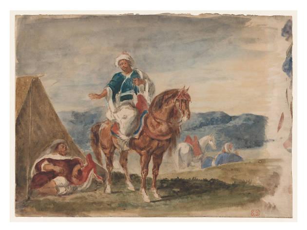 Eugène Delacroix, Three Arab Horsemen at an Encampment, 1832–37