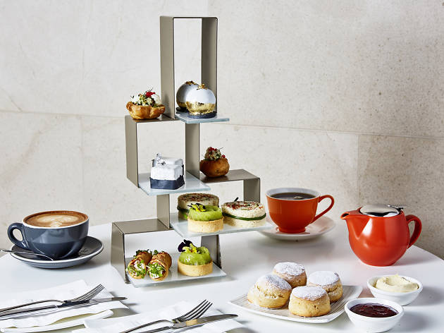 A modular cake stand and scones