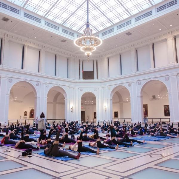 Visitors at adidas: Art & Yoga