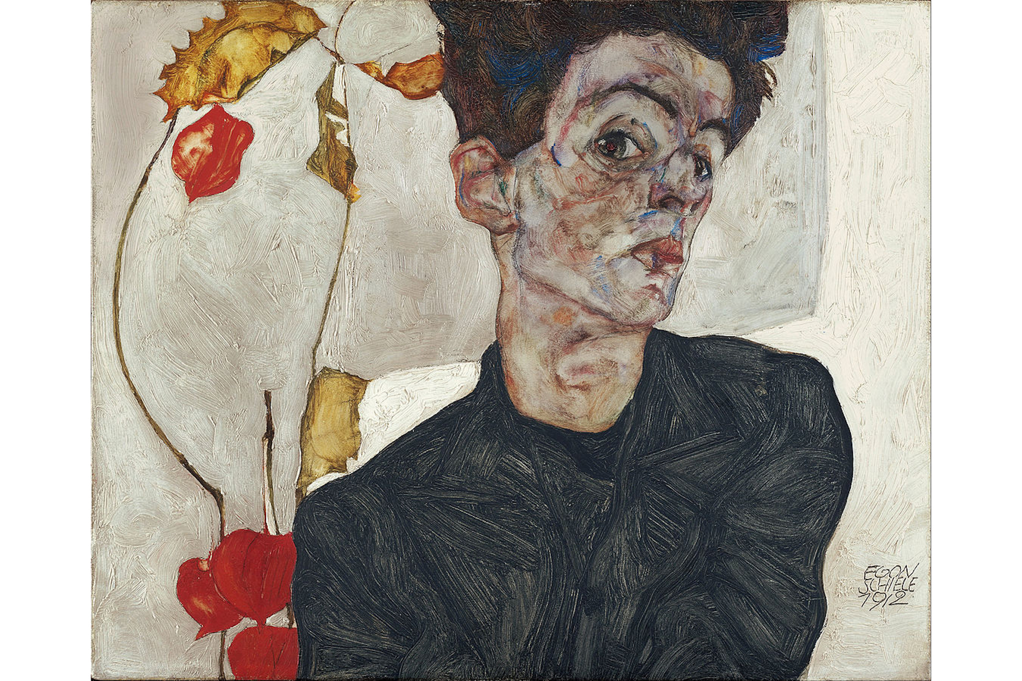 Egon Schiele, Self Portrait with Physalis, 1912