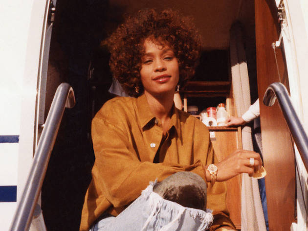 Whitney Houston on her private jet