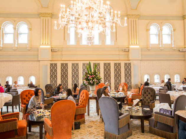 A tea room with chandeliers