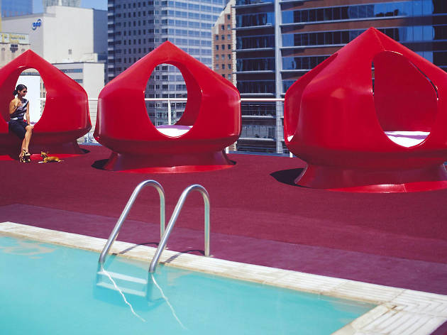 The rooftop bar and pool at The Standard Downtown Los Angeles