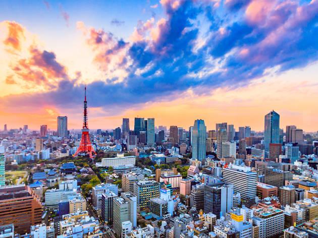 El atardecer en la ciudad de Tokio, Japón