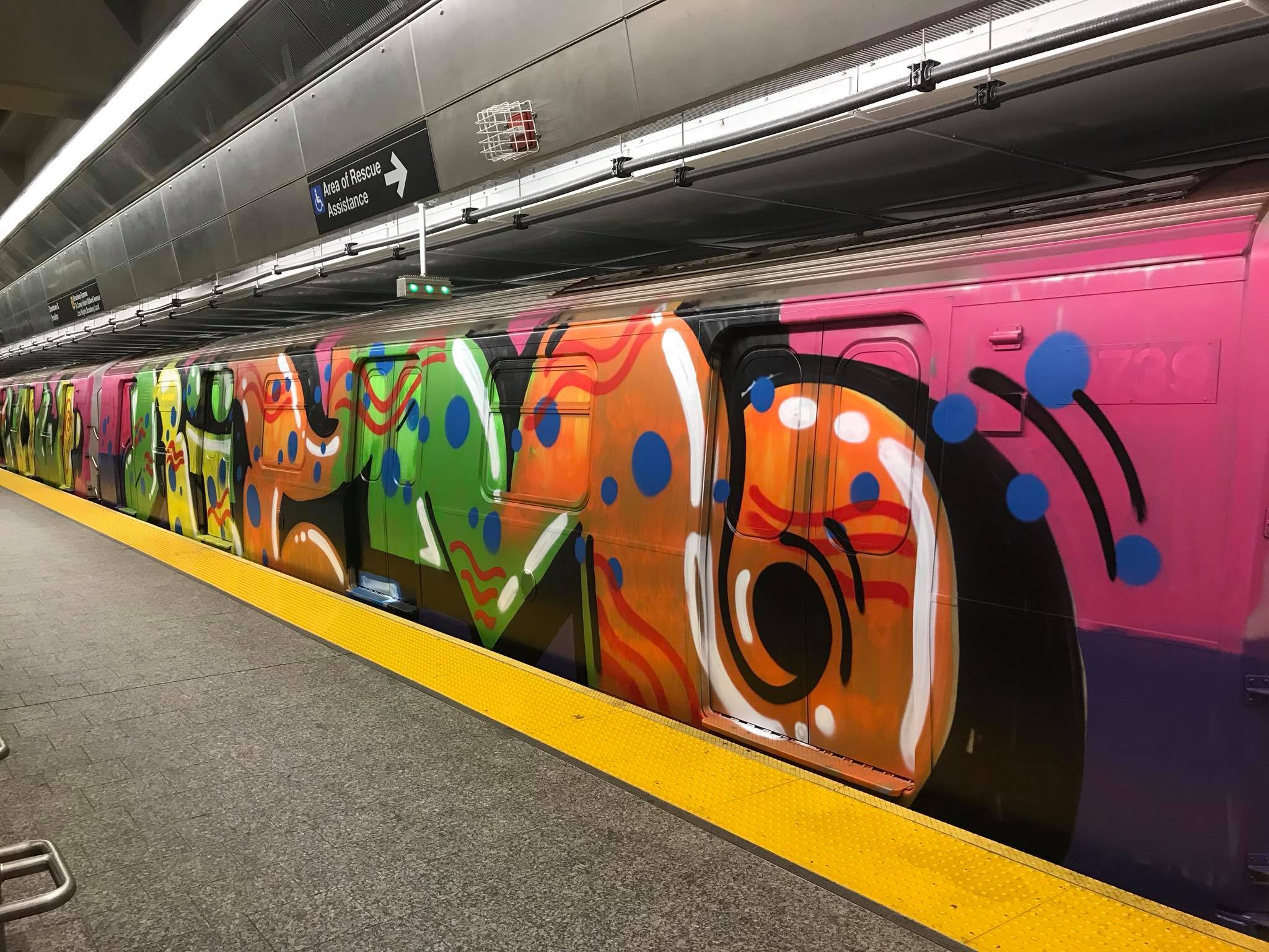 A Q train was completely covered in illegal graffiti