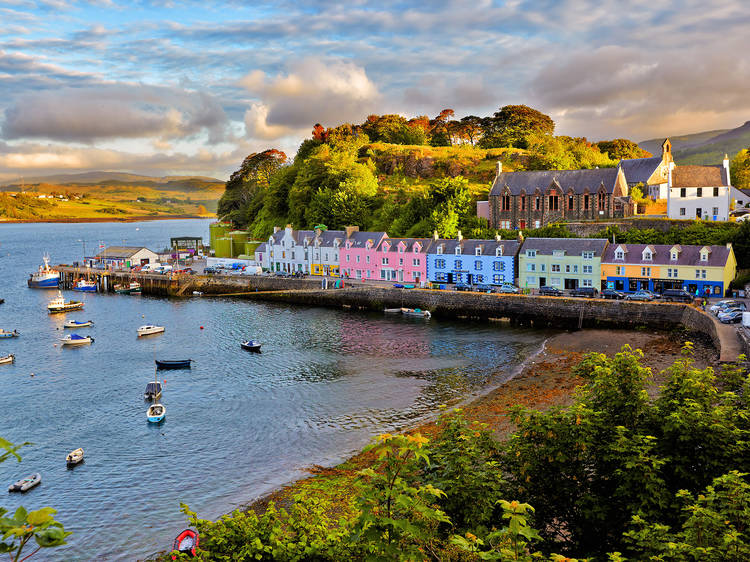 See the rainbow at Portree on the Isle of Skye