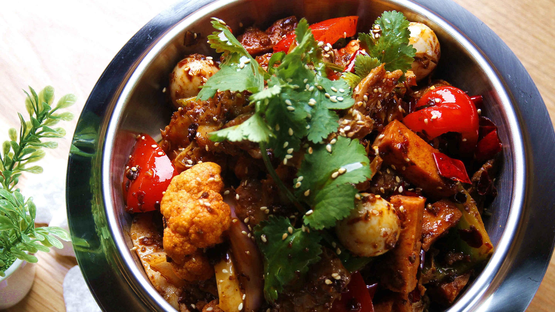 Sichuan wok-fried veggies at Rice Fields