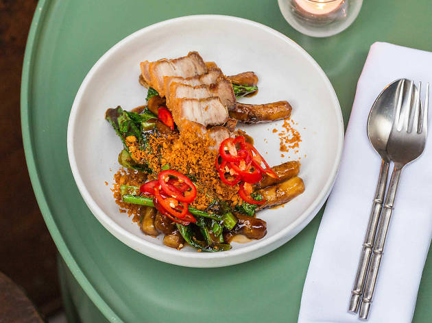 Charred pad see ew of crispy pork belly at Longtime