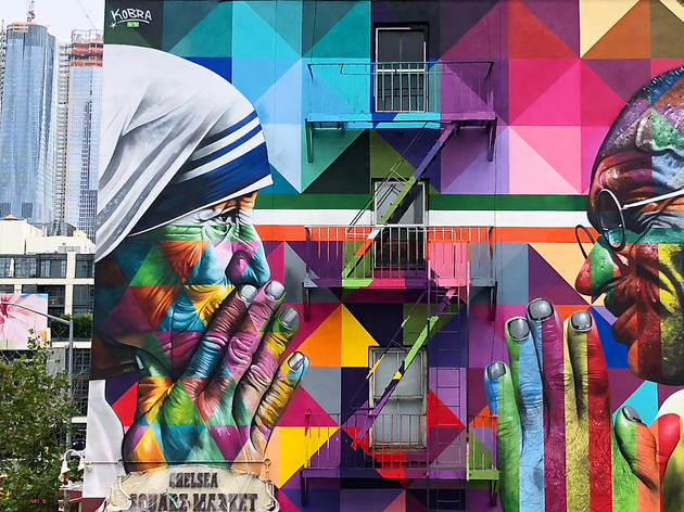 Street artist Kobra just dropped his latest mural—a tribute to Gandhi and Mother Teresa