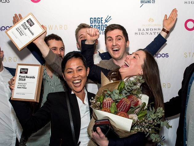 Winners cheering at Time Out Food Awards 2018