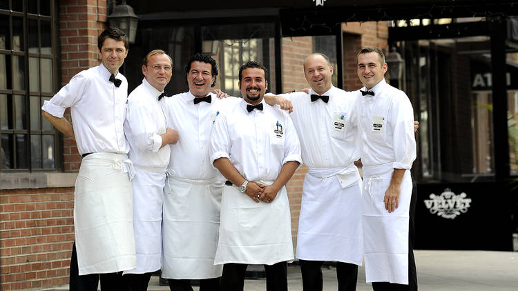 Waiters at Peter Luger's Steakhouse on Broadway in Brooklyn.