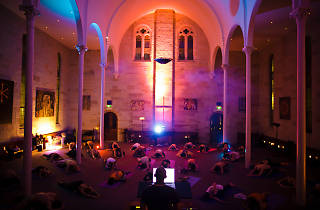 People doing yoga in Paddington Uniting Church