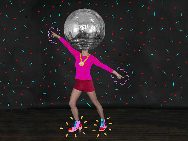 A person with a disco ball photoshopped on their head dances.