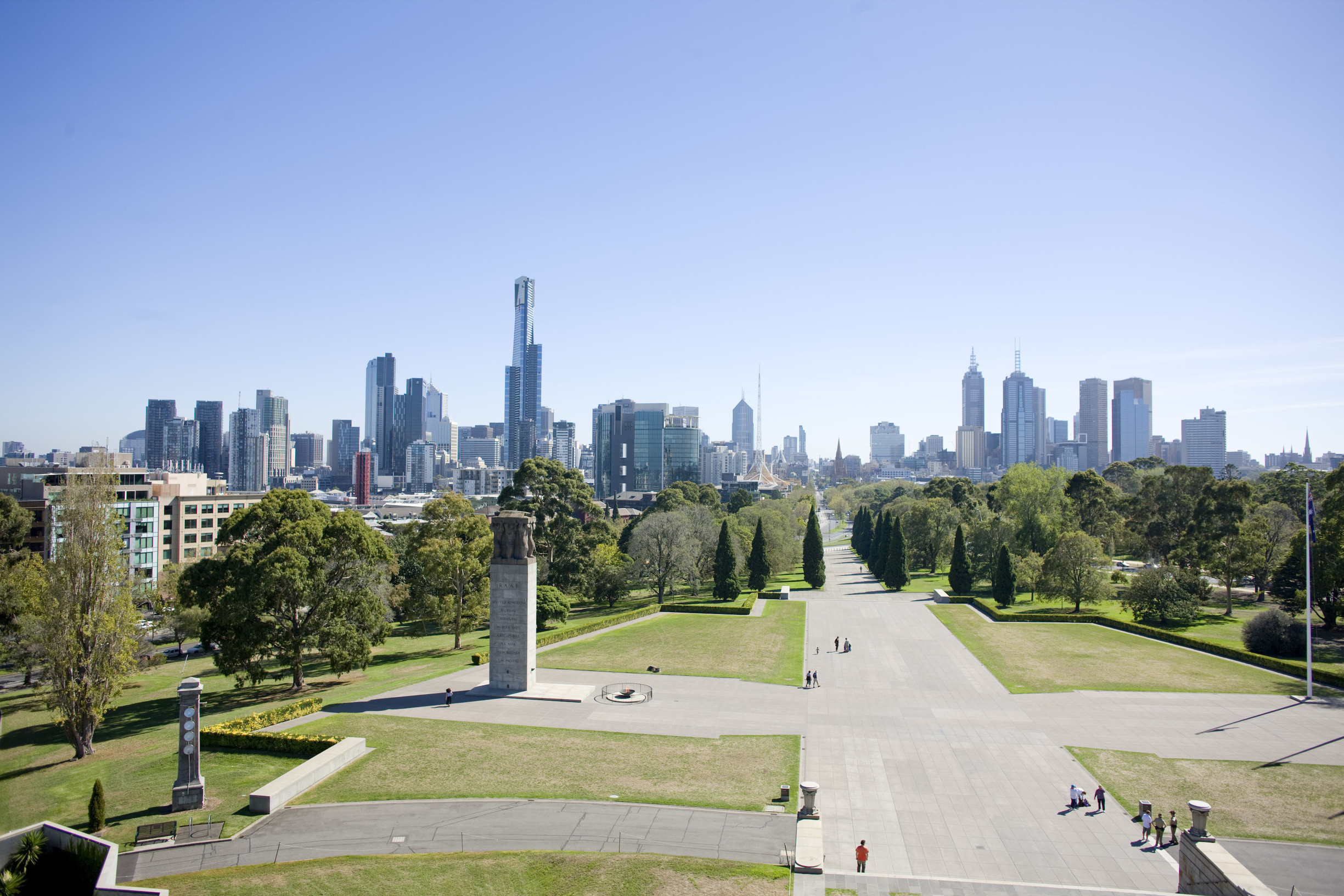 View of Melbourne's skyline from the Shrine of Remembrance