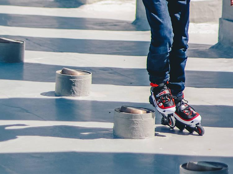 Roller skate in a church