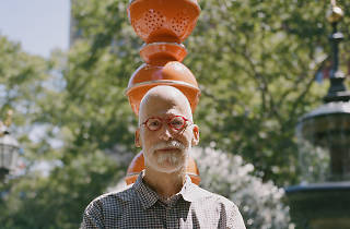 "Artist B. Wurtz plants pots and pans as ""Kitchen Trees"" at City Hall Park"