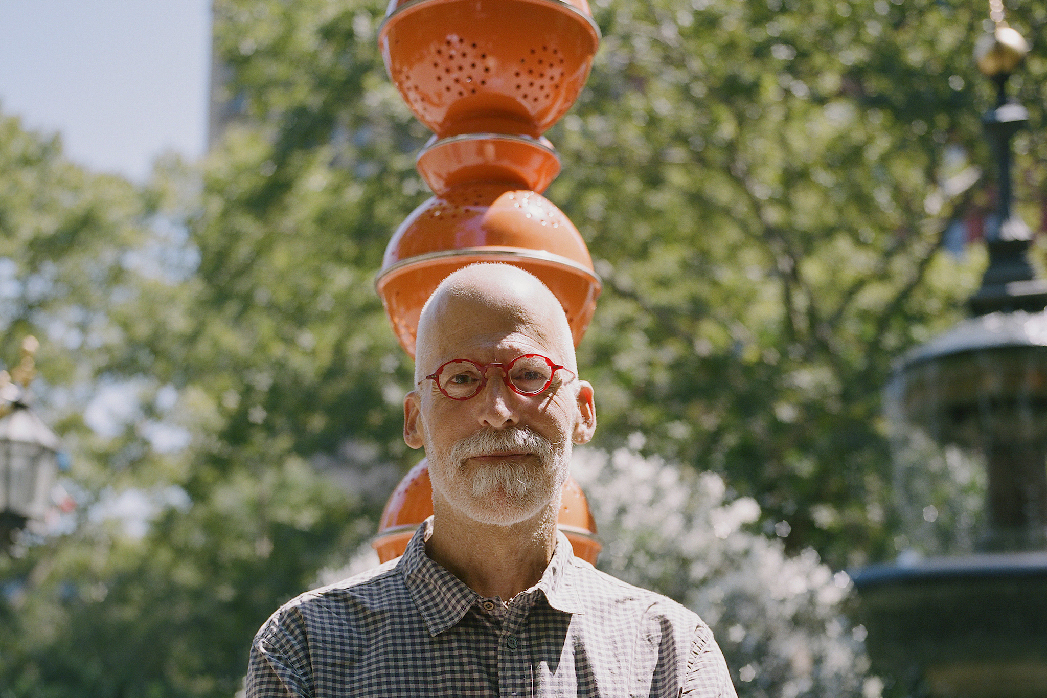 """Artist B. Wurtz plants pots and pans as """"Kitchen Trees"""" at City Hall Park"""