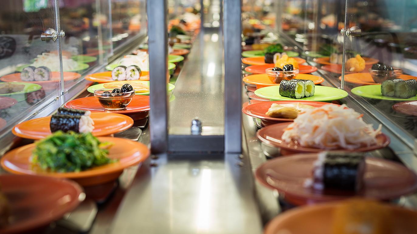 Conveyor belt sushi - stockphoto