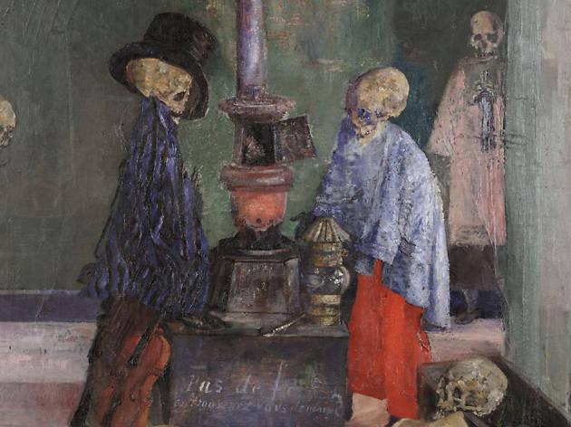 James Ensor, Skeletons Warming Themselves, 1889, detail