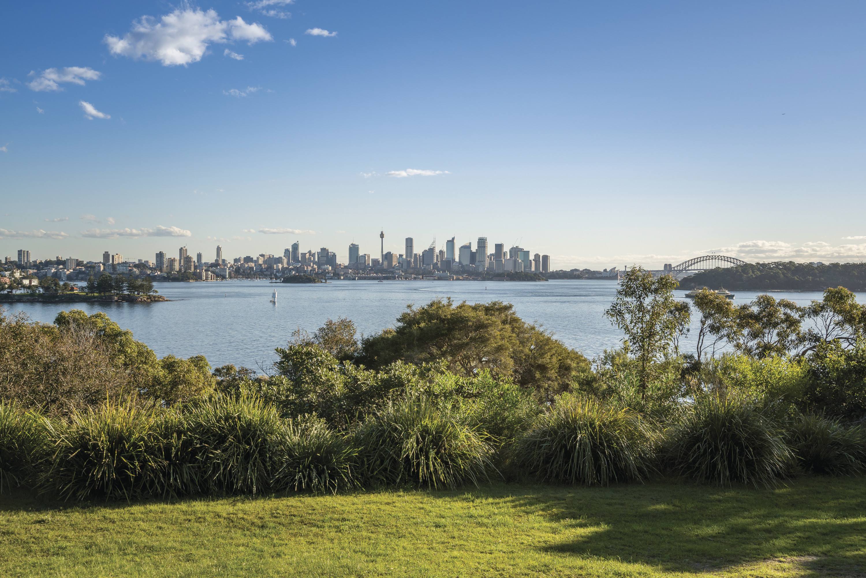 Steele Point Clearing at Neilson Park in Vaucluse at Sydney Harbour National Park. The views extend back to the Sydney city.