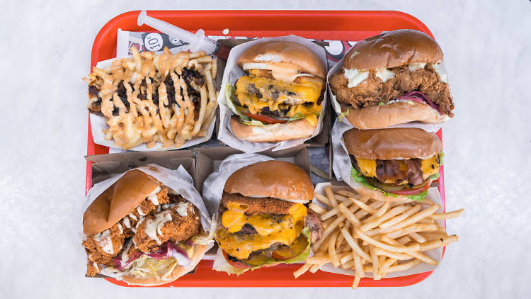 Down N'Out burgers on red tray