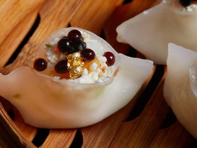 Mott 32 - South Australian scallop, garoupa, caviar, gold leaf and egg white dumplings
