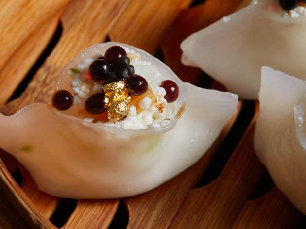 Mott 32 - South Australian scallop, garoupa, caviar, gold leaf and egg white dumplings