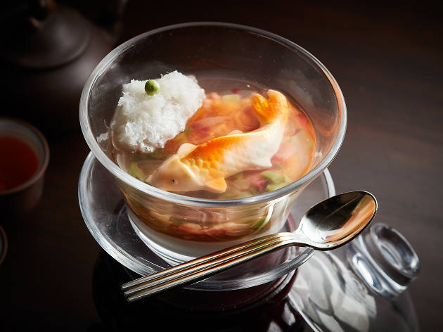 Spring Moon - Chilled coconut, papaya and strawberry pudding with bird's nest