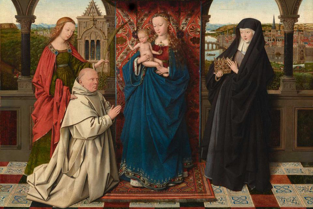 Jan van Eyck and Workshop, The Virgin and Child with St. Barbara, St. Elizabeth and Jan Vos, ca. 1441–43, detail